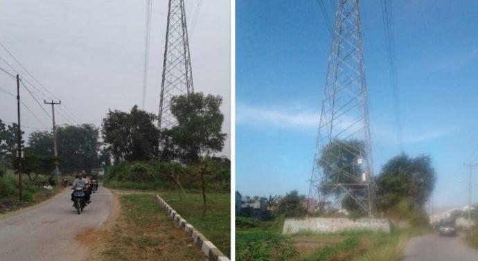 TAPAK TOWER SUTET PLN DIDUGA BERMASALAH DI PERUM REGENCY DESA CIKAMPEK UTARA KOTA BARU KARAWANG