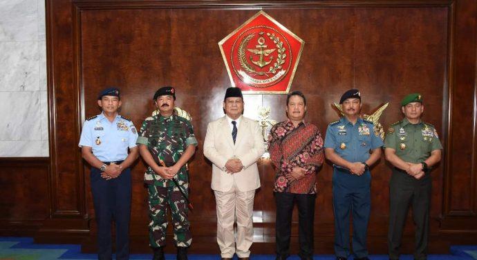 KUNJUNGAN MENHAN PRABOWO KE MABES TNI DI SAMBUT PANGLIMA TNI HADI TJAHJANTO