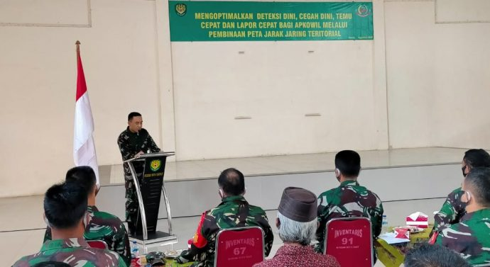 Dandim 0611/Garut membuka langsung Giat Pembinaan Peta Jarak Jaring Teritorial TW lll TA 2020.