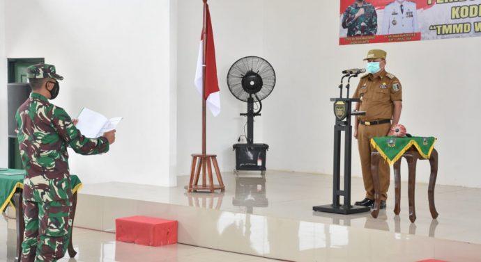 BUPATI LAMPUNG TIMUR, BUKA TNI MANUNGGAL MEMBANGUN DESA (TMMD) TAHUN 2021